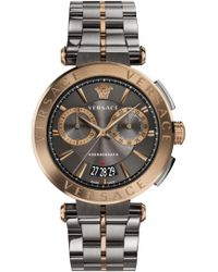 Versace - Aion Chrono 45mm Watch Grey/bronze - Lyst