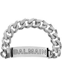 Balmain - Logo Chain Bracelet Palladium - Lyst