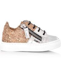 f9ae646bfacd Giuseppe Zanotti - Kids Cheryl Glitter Jr. Sneakers Metallic Silver gold  Glitter - Lyst