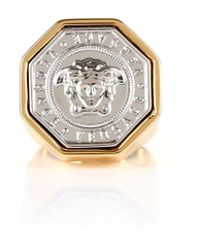 Versace - Medusa Octagon Coin Ring Gold/palladium - Lyst