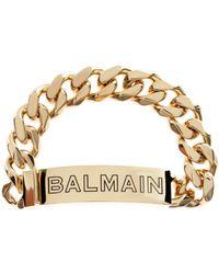 Balmain - Logo Chain Bracelet Gold - Lyst