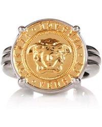 Versace - Medusa Coin Ring Palladium/gold - Lyst