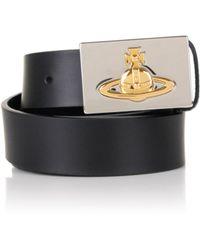Vivienne Westwood - Exclusive Gold Orb Plaque Buckle Belt Black - Lyst