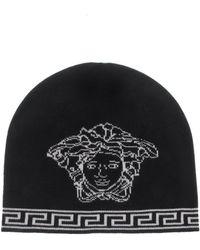 732e56fd Lyst - Versace Men's Medusa Logo Intarsia Beanie Hat in Black for Men