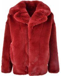 Diane von Furstenberg - Faux Fur Coat Ruby - Lyst