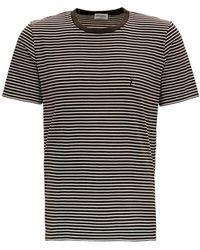 Saint Laurent Striped Cotton T-shirt With Logo - Black