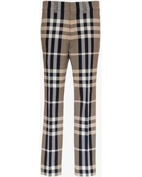 Burberry Tailored Pants In Technical Cotton With Tartan Motif - Natural