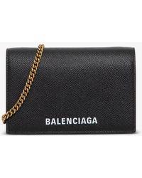 Balenciaga - Leather Crossbody Wallet With Logo - Lyst