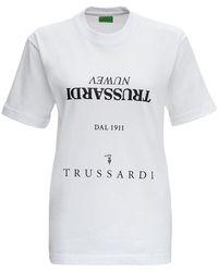 Trussardi White Jersey Multi-logot-shirt