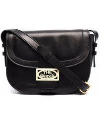 The Bridge Lavinia Leather Crossbody Bag With Logo - Black