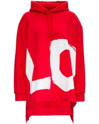 Burberry Oversize Jersey Hoodie With Maxi Love Print - Red