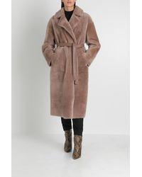 Blancha Belted Shearling Coat - Brown