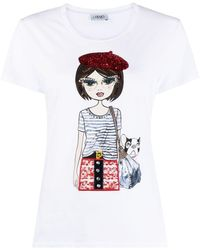Liu Jo Cotton T-shirt With Print - White