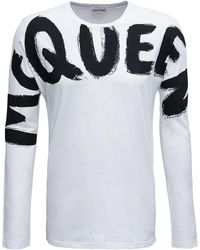 Alexander McQueen Long-sleeved Cotton T-shirt With Logo Print - White