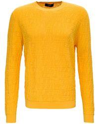Fendi Viscose Ff Long-sleeved T-shirt - Yellow