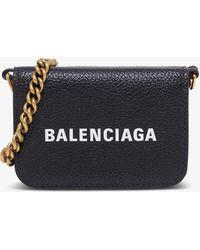 Balenciaga Wallet With Shoulder Strap - Black