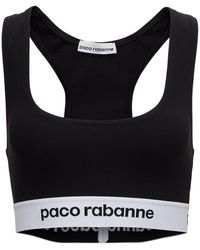 Paco Rabanne Stretch Fabric Top With Logo - Black