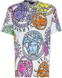 Versace - T-Shirt di Cotone con Stampa Medusa Amplified - Lyst