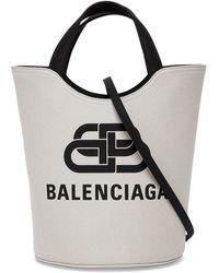 Balenciaga Borsa a Mano Wave Tote in Canvas con Logo - Nero