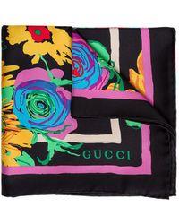 Gucci Silk Scarf With Ken Scott Print - Multicolor