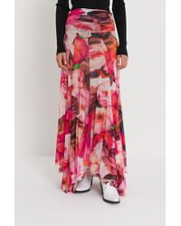 MSGM - Gonna Lunga In Mesh Di Tulle Con Stampa Floreale - Lyst
