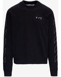 Off-White c/o Virgil Abloh Black Cotton Diagonal Stripe Sweatshirt