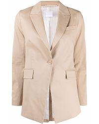 ..,merci Single Breasted Beige Cotton Blazer - Natural
