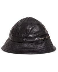 Marine Serre Bucket Ghat Inregenarted Leather Withallover Tonal Moon Pattern - Black