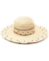 P.A.R.O.S.H. Straw Hat With Polka Dot Embroidery - Black