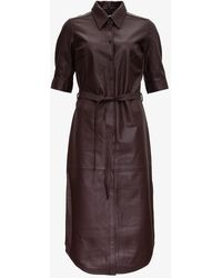 FRAME Belted Pinafore Dress In Leather - Brown
