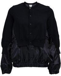 Noir Kei Ninomiya Wool Blend Bomber Jacket With Houndstooth Detail - Black