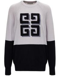 Givenchy Cashmere Bicolor Sweater With Logo - Gray