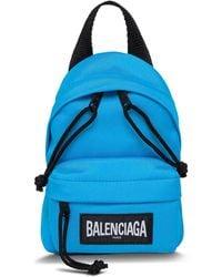 Balenciaga Zaino Oversized Mini in Tela Tecnica Azzurra - Blu