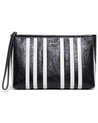 Balenciaga White And Black Barbes Leather Handbag With Logo