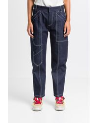 Chloé Cargo Jeans With White Stitching - Blue