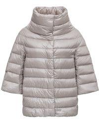Herno Aminta Short Down Jacket In Ivory-colored Nylon - White