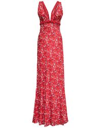 Giovanni bedin Viscose Long Dress With Floral Print - Red