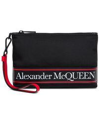 Alexander McQueen Borsa a mano in nylon con logo - Nero