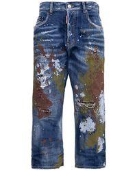DSquared² Jeans Crop Kawaii con Dettagli Color Splash - Blu