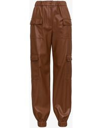 MSGM Leatheret Cargo Trousers - Brown