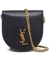 Saint Laurent Satchel Le K Baby Leather Crossbody Bag - Black
