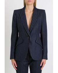Alexander McQueen Fitted Pinstripe Blazer - Blue