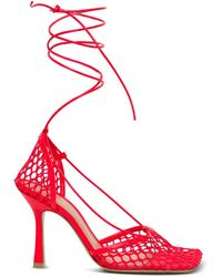 Bottega Veneta Stretch Sandals In Mesh And Nappa - Red