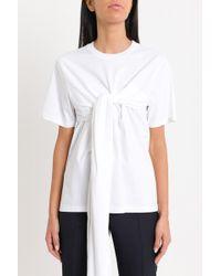 Cedric Charlier - T-Shirt Con Drappio Annodato - Lyst
