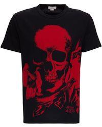 Alexander McQueen T-Shirt di Cotone con Stampa Skull - Multicolore