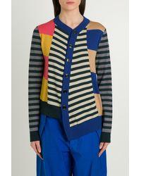 Colville Asymmetric Striped Wool Cardigan - Blue