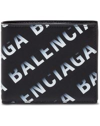 Balenciaga Bifold Wallet In Leather With Logo Print - Black