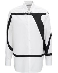 Valentino Camicia in Popeline di Cotone con Stampa V Logo - Bianco