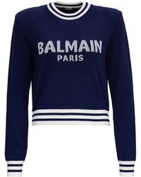 Balmain Knitted Sweater In Cashmere Blend With Logo And Padded Shoulders - Blue