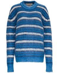 Marni Striped Mohair Sweater - Blue